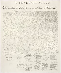 A copy of the 1823 William J. Stone reproduction of the Declaration of Independence
